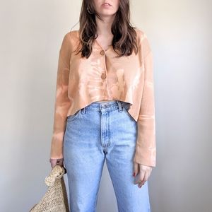 Vtg Boho Hand Dyed Tan Knit Crop Cardigan Top M